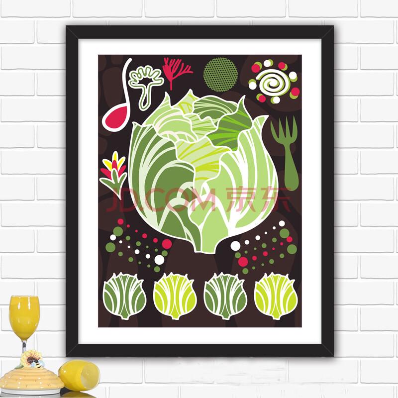 良木餐厅装饰画 手绘创意水果饭厅有框画 多幅可选 d款亮黑框 23*28cm