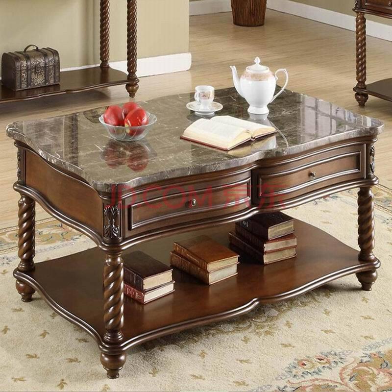 客厅家具 大理石面咖啡桌 实木茶几