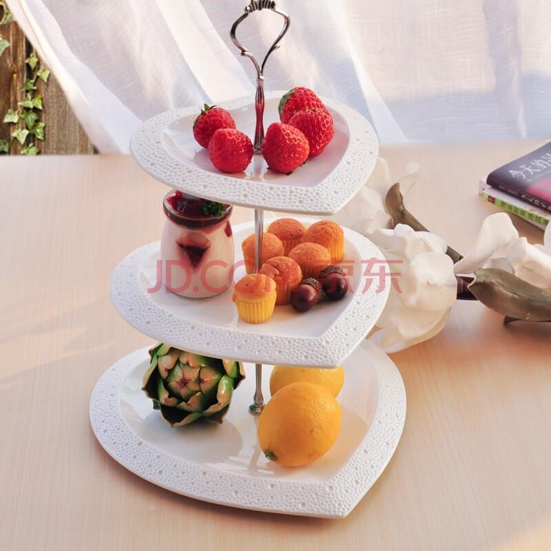 陶瓷三层水果盘创意客厅欧式点心盘多层干果盘零食架