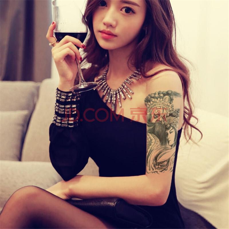 玛丽弟弟纹身贴防水男女通用蓝色花旦纹身纸 霸王虞姬大图花臂纹身贴