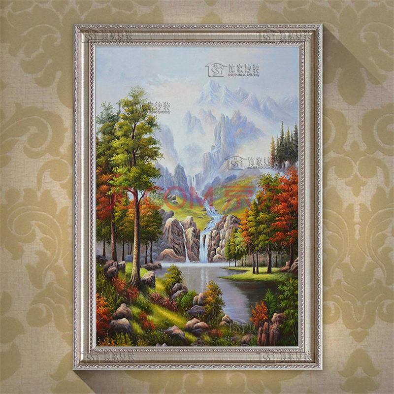 简欧式客厅玄关装饰画聚宝盆高山流水古典风景有框手绘油画dle038 29