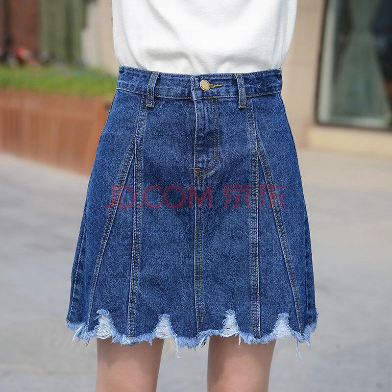 夏季新款女装牛仔裙半身裙百搭修身时尚包裙-7150 蓝色 l