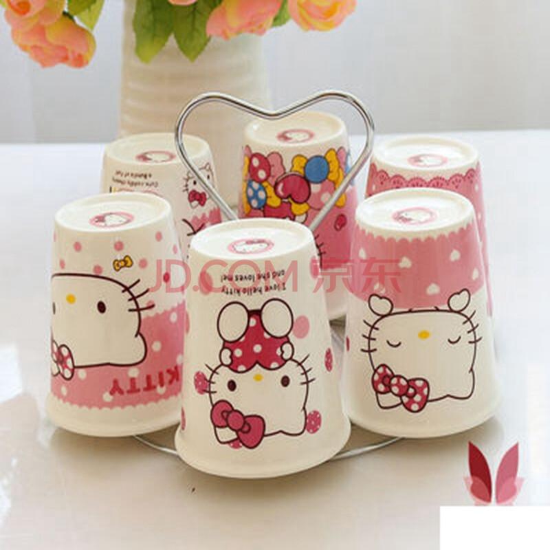 陶瓷冷水壶水杯杯具套装骨瓷卡通凉水壶家用耐高温冷凉水瓶 凯蒂猫6杯图片