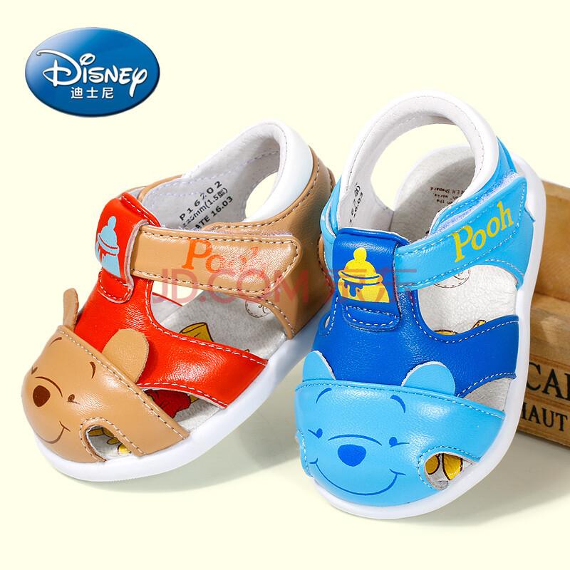迪士尼男宝宝鞋小童包头凉鞋1-3岁可爱学步鞋软底婴儿