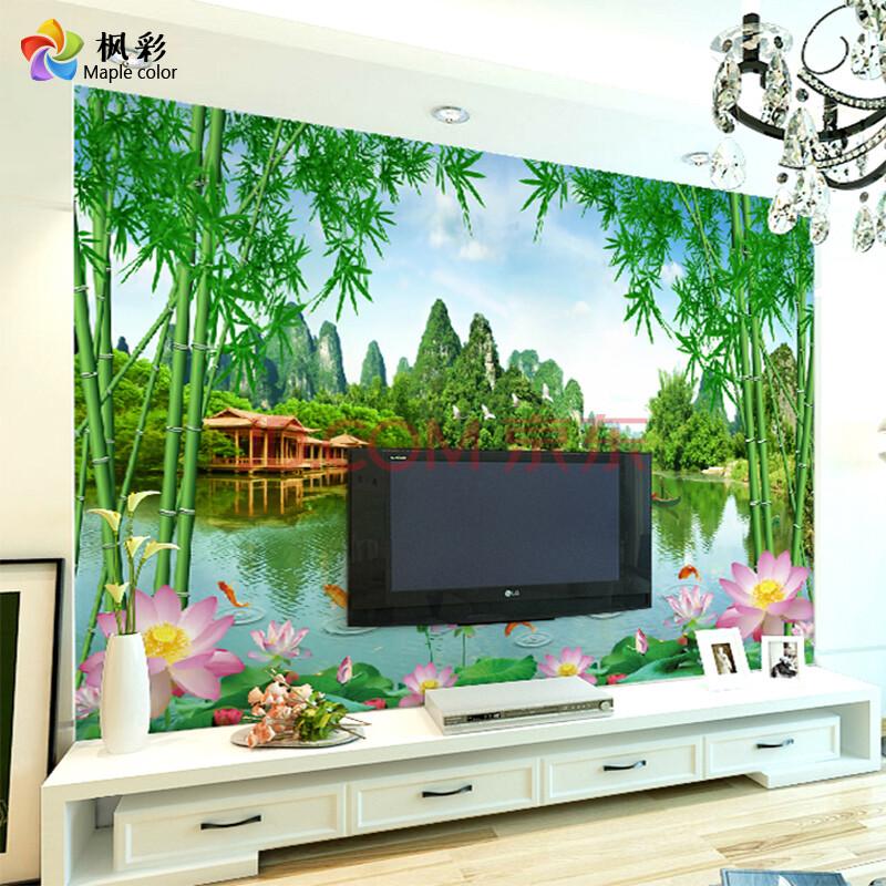 枫彩3d山水画壁纸电视沙发背景墙壁画荷花竹子中式简约无缝定制无坊布图片