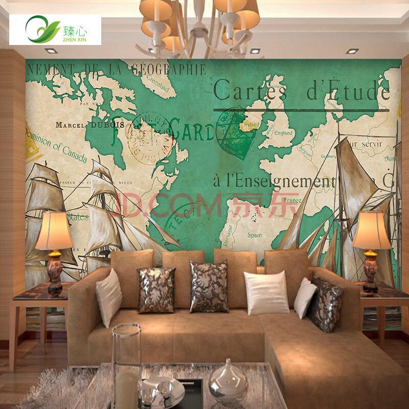 美式沙发背景墙影视墙墙纸地图船舶复古墙布壁画壁布客厅电视背景定制图片
