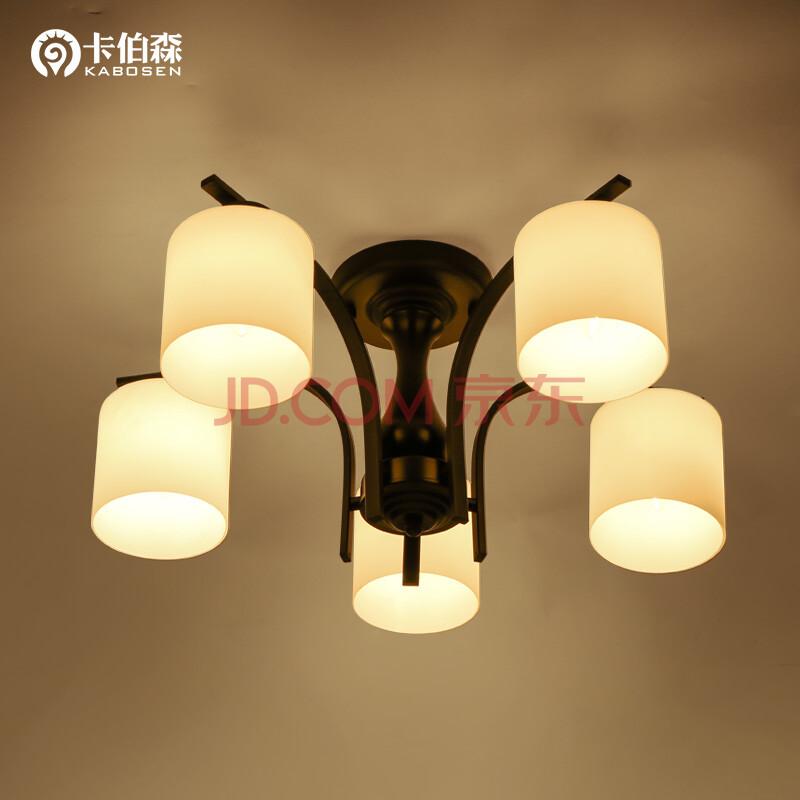 北欧美式乡村田园吊灯玻璃led吸顶灯 儿童书房间主卧室餐厅客厅灯 5头图片