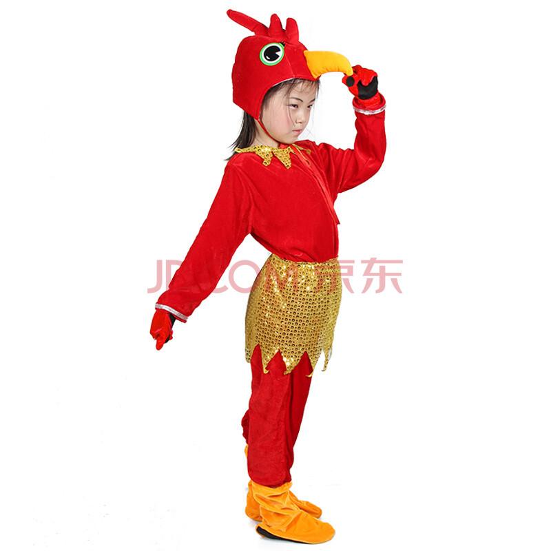 六一儿童节动物服装 演出表演卡通服饰 高档金丝绒长袖六件套装 公鸡