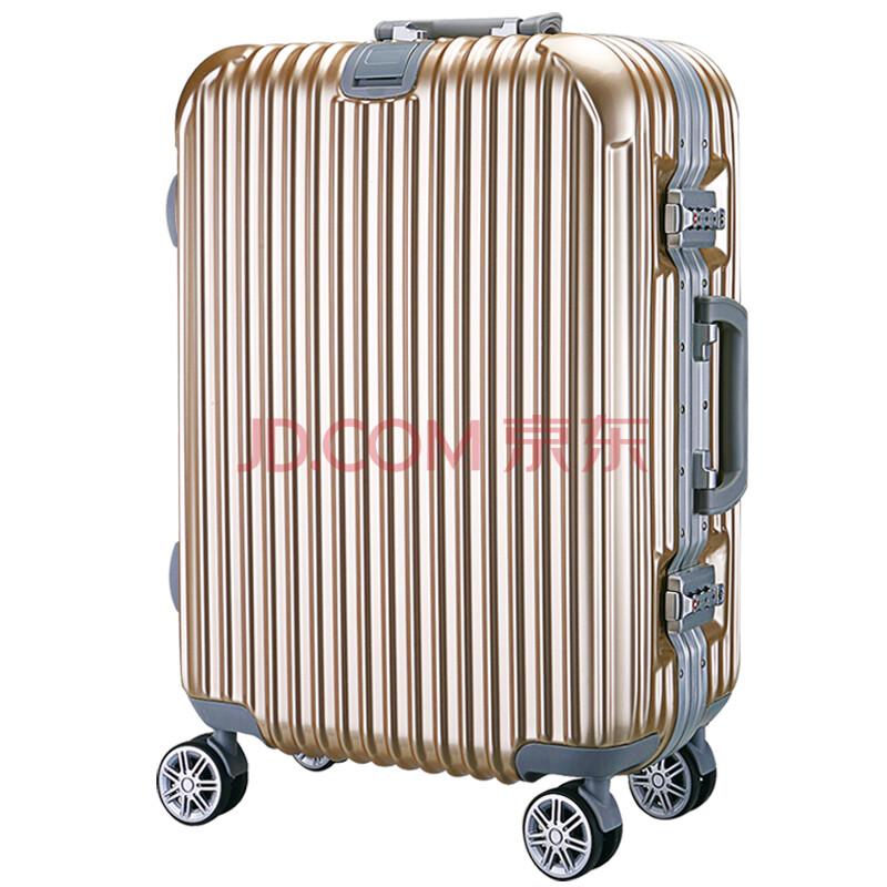 轮24寸旅行箱男20寸登机箱女行李箱26寸托运箱子29寸 金典挂扣版-金色图片
