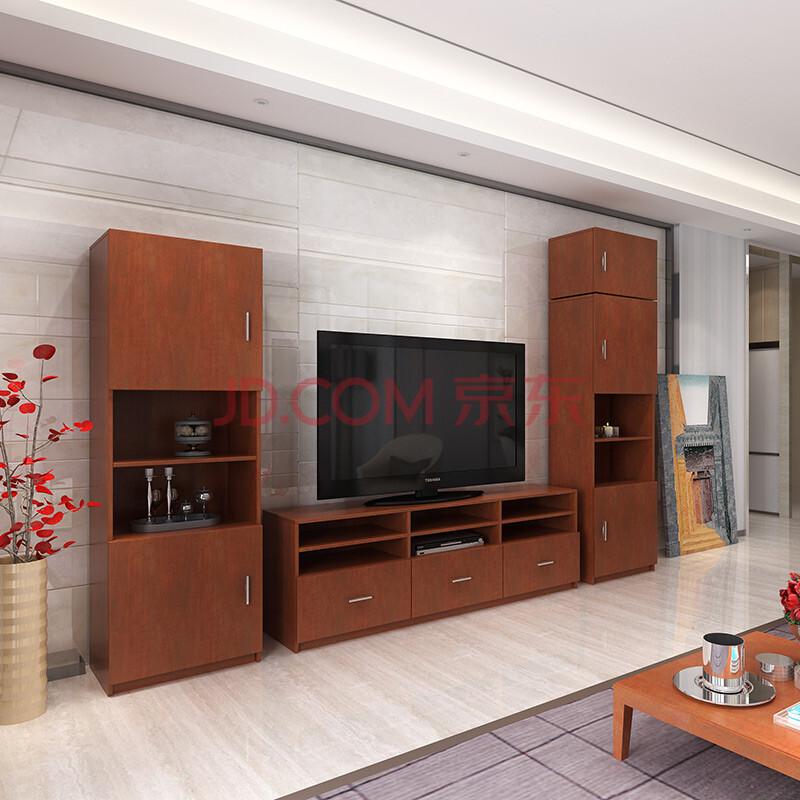 影视柜 组合电视柜 可储物收纳影视墙 花梨木色
