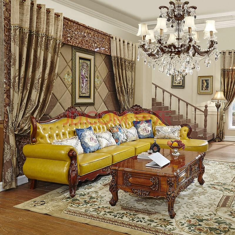千巢家居 欧式转角真皮沙发 简美沙发 法式沙发 油蜡皮沙发 实木雕花图片