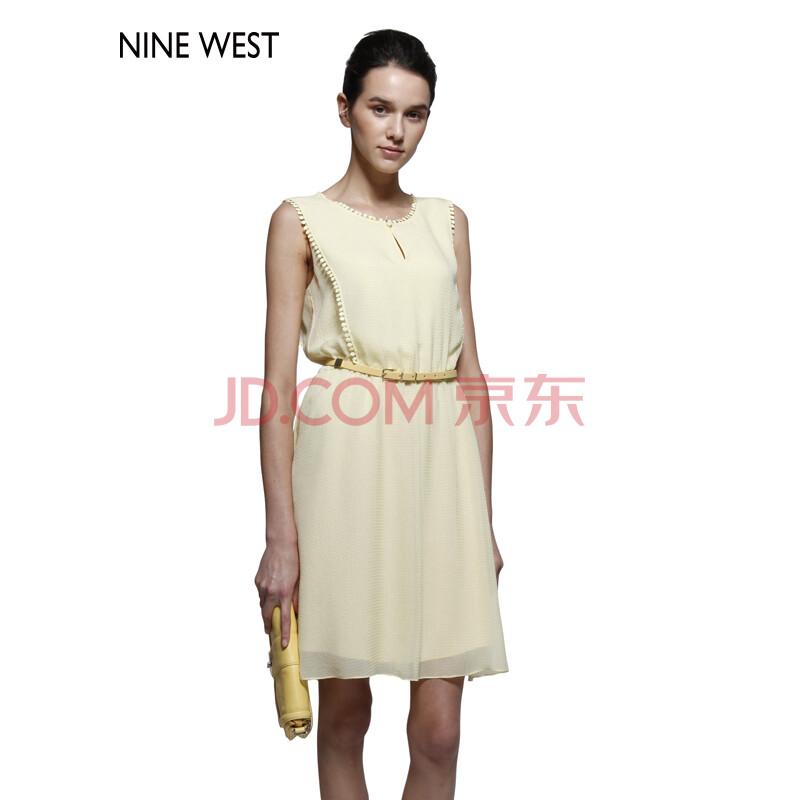 nine west 玖熙女装 春夏款 修身优雅纯色无袖雪纺腰带连衣裙