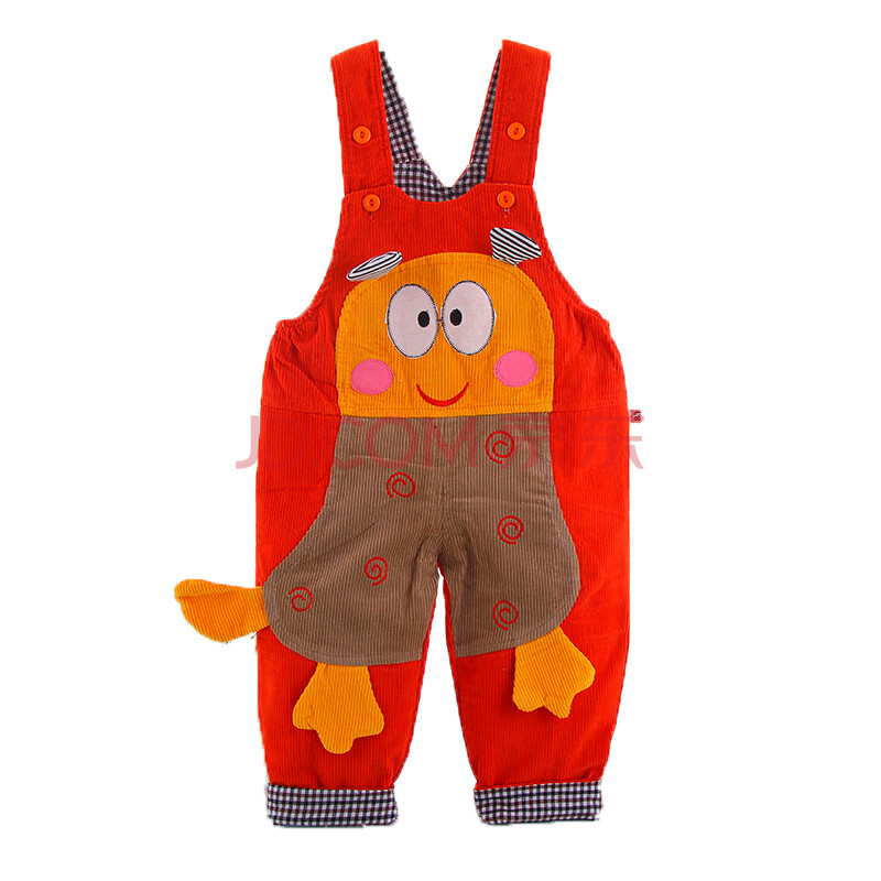 宝宝连体背带裤 婴幼儿宝宝纯棉保暖可爱背带裤 桔色 90