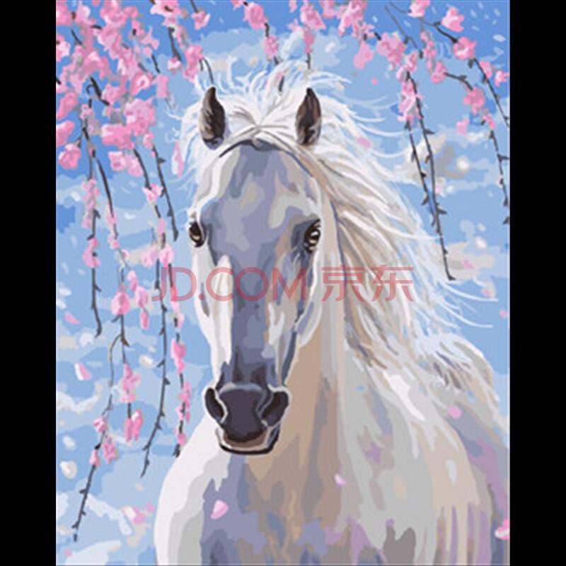 diy数字油画 客厅卡通动漫动物手绘填色装饰 转运鹿 gx8528白马 40*50