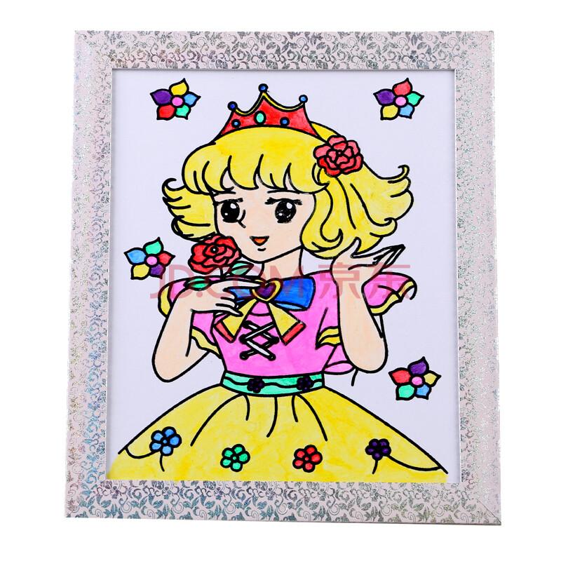 奕彩绘画工具儿童画板雪花泥丙烯颜料创意早教手工玩具 12寸彩框画单图片
