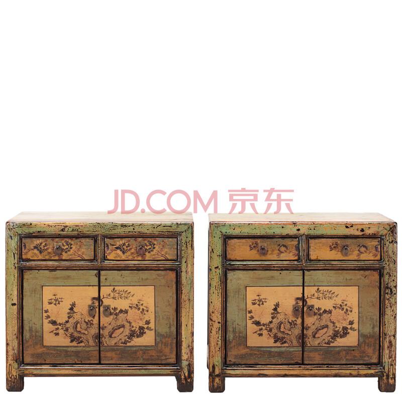 卧室家具 床头柜 博大逸品 新中式古典仿古造旧实木复古彩漆手绘箱子