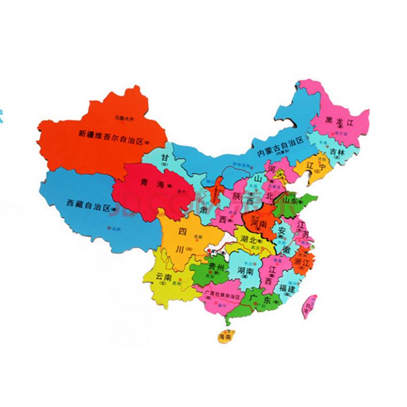 小皇帝木质儿童竖版中国地图拼图 木制益智学地理玩具