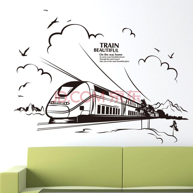 墙贴纸贴画现代简约线条欧式客厅沙发墙壁纸装饰个性黑白创意火车