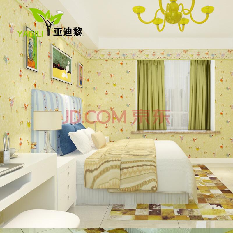 亚迪黎 蜡笔风格手绘跳舞水墨效果男孩女孩儿童房纯纸壁纸 卧室 背景
