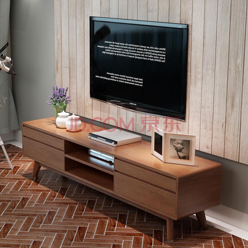 南巢 北欧风格小户型实木长方形电视柜 日式客厅电视柜茶几组合 1.