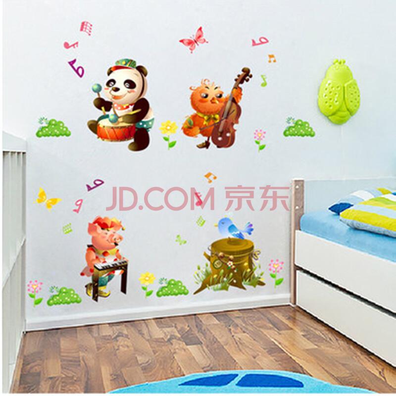 馨兰芙曼 卡通可爱月亮兔子墙贴儿童房背景墙装饰幼儿