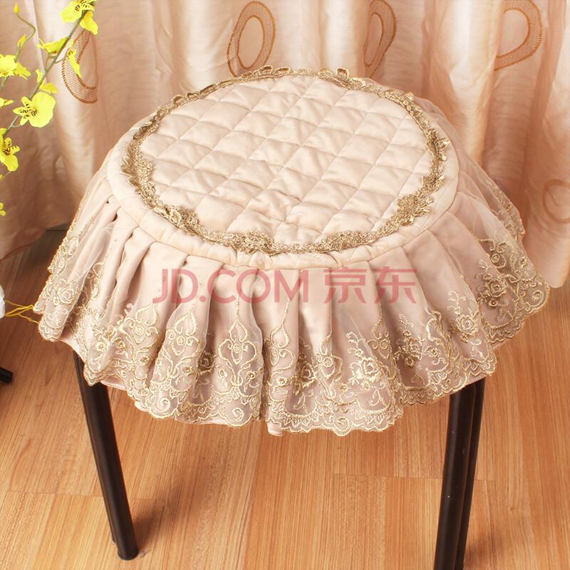 朵忆姿 欧式圆凳子罩 圆形方形凳防尘罩坐垫 梳妆台钢琴凳罩 圆垫