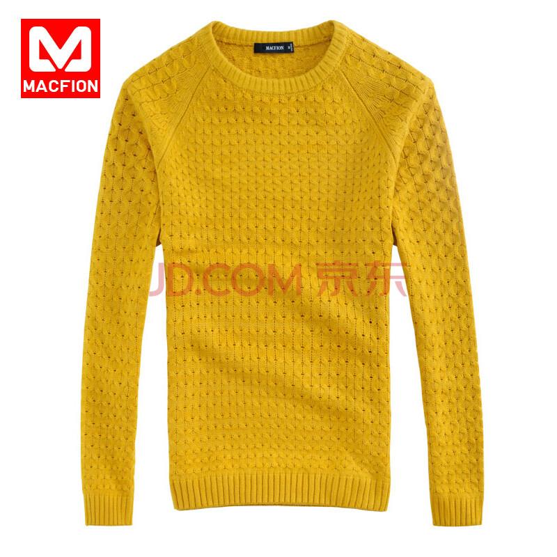 迈克菲 秋季男士针织衫长袖毛衣男款棒针编织圆领毛衣