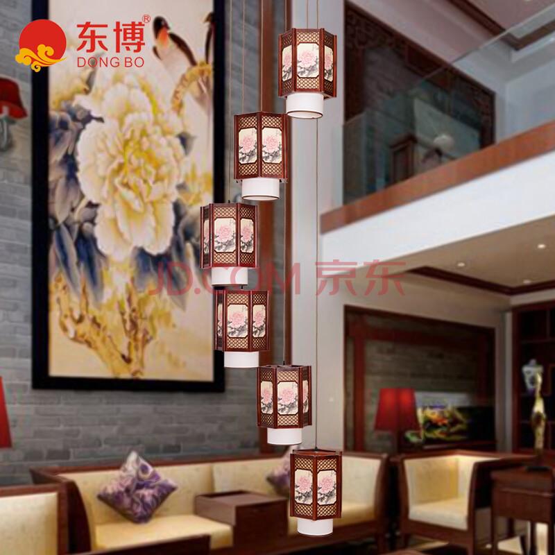 东博 中式楼梯灯具古典别墅复式楼旋转楼梯间吊灯中式图片