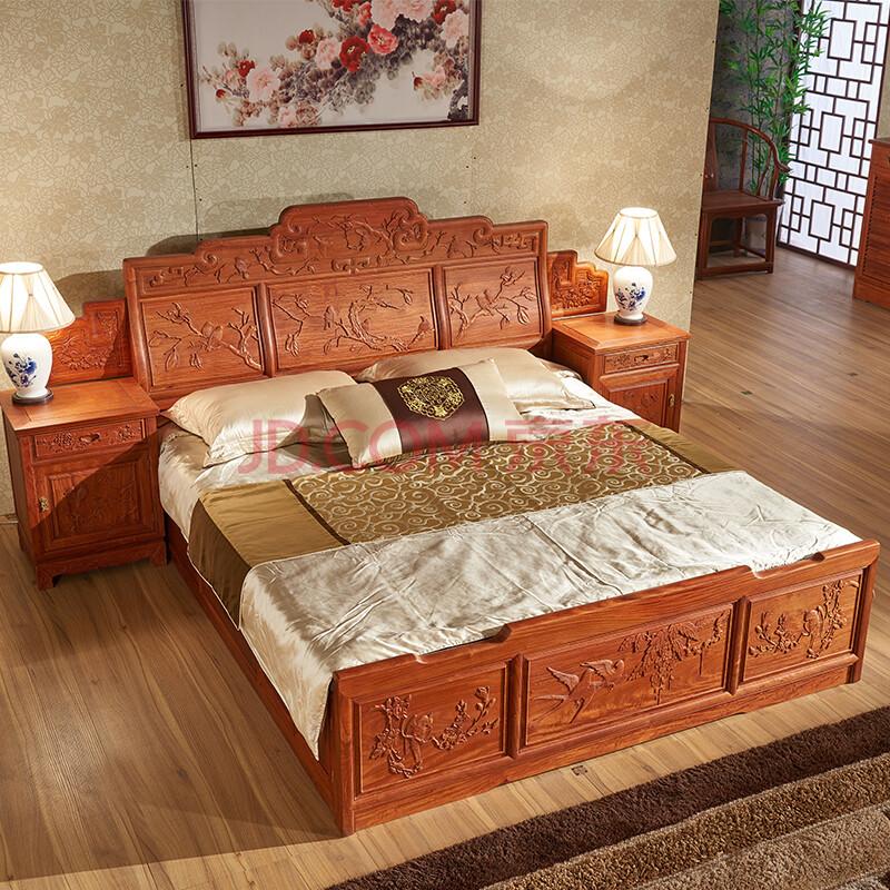 古味居红木家具 缅甸花梨木双人床 大果紫檀新中式实木大床 高端2米