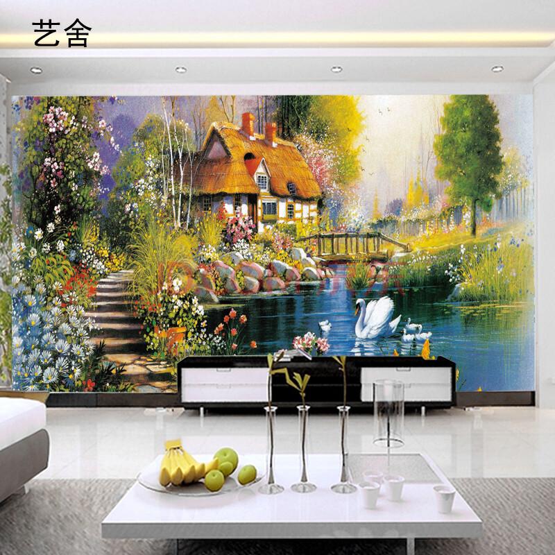艺舍大型无缝壁画 欧式乡村油画风景画装饰壁纸客厅电视沙发背景墙纸图片