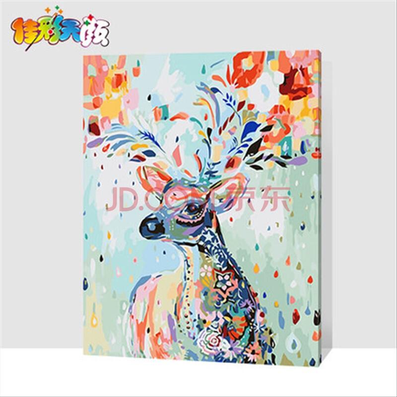 diy数字油画 客厅卡通动漫大幅手绘装饰儿童小动物鹿 彩绘小鹿 40*50