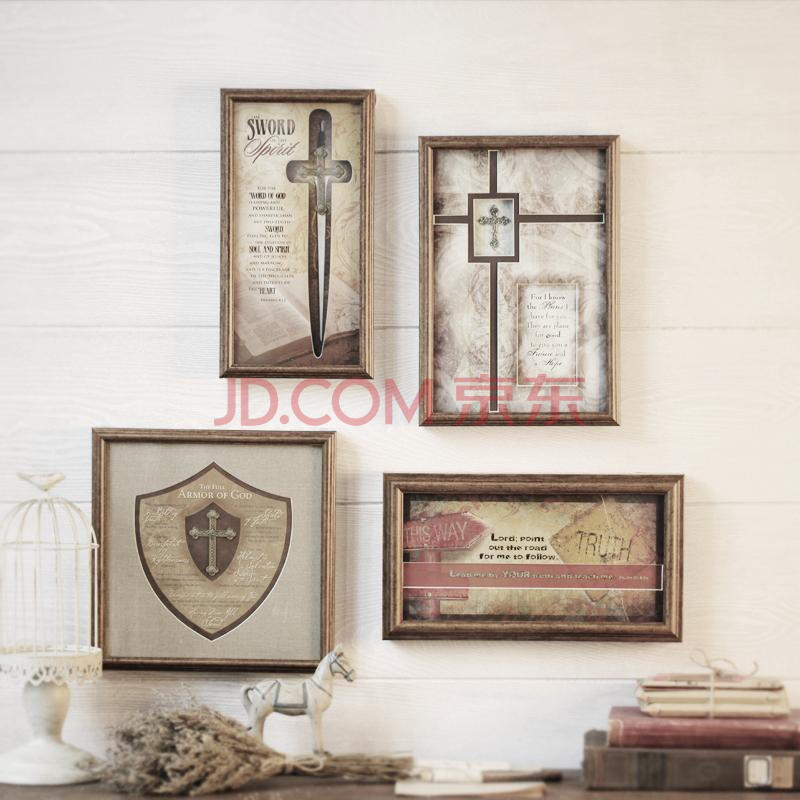 mood home美式乡村实木复古做旧照片墙创意挂墙组合相片墙相框 金色