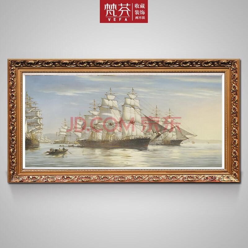 纯手绘古典海景油画