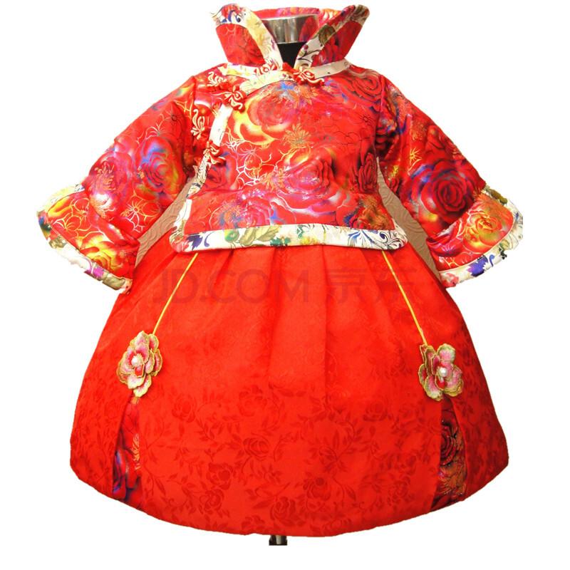 qqrabbi2014儿童旗袍冬长袖女童唐装喜庆新年装格格