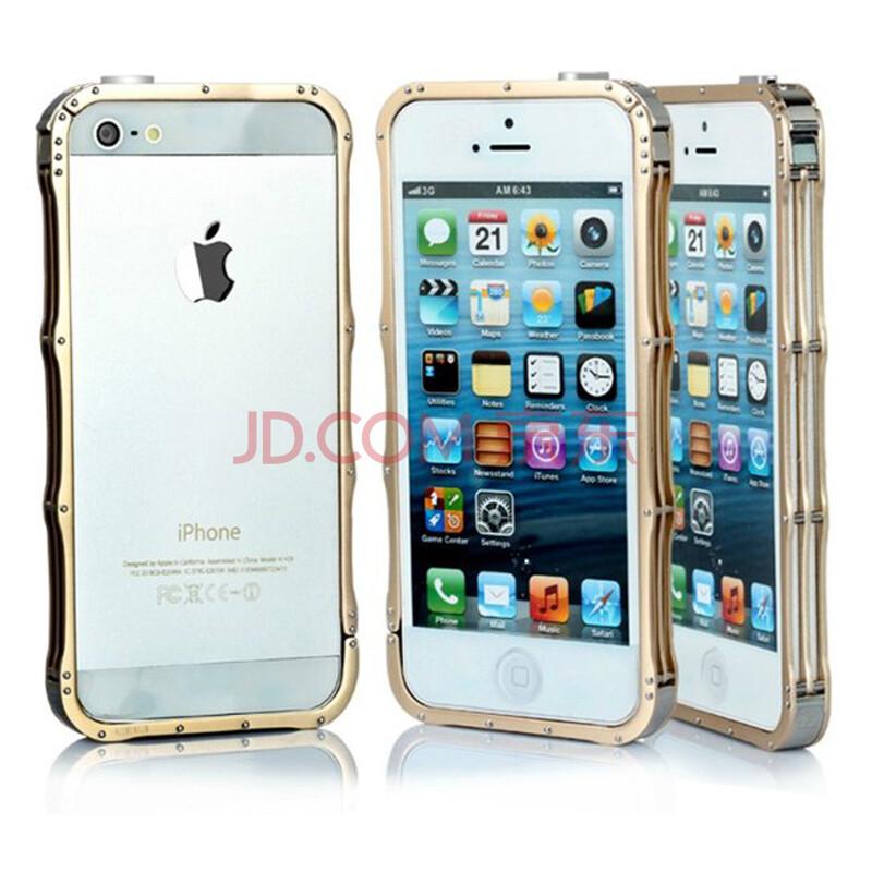 yjing 金属边框手机套保护套 适用于苹果iphone5/iphone 5s 土豪金