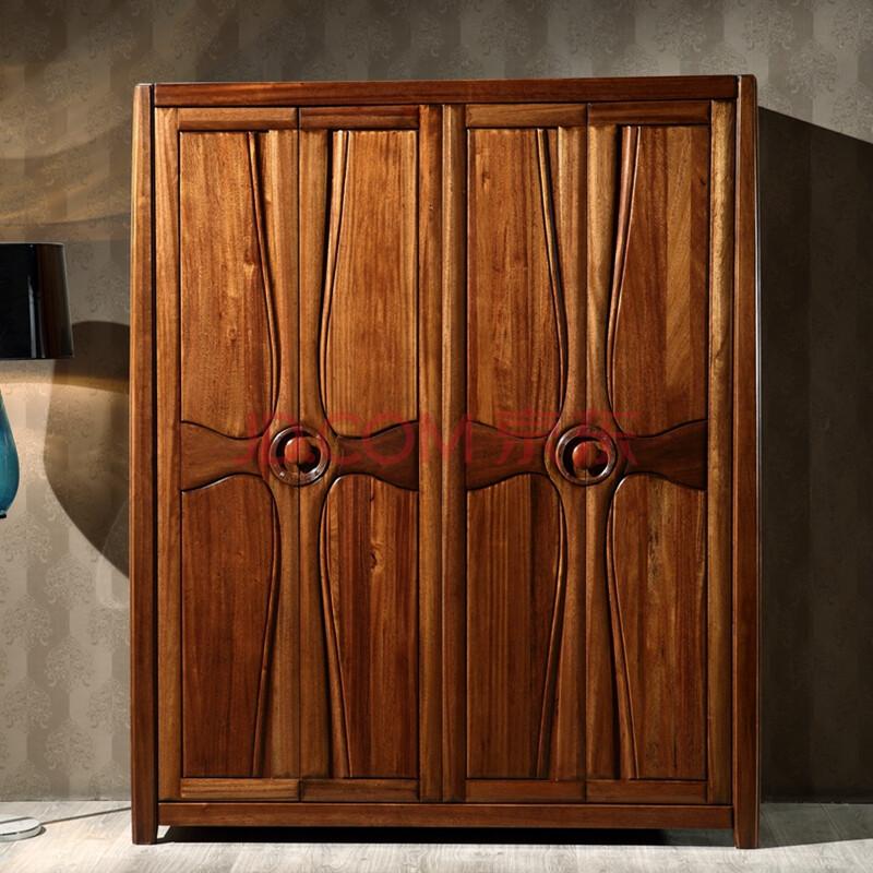 索格 实木衣柜四门衣柜大衣橱金丝檀木卧室实木家具 四门衣柜