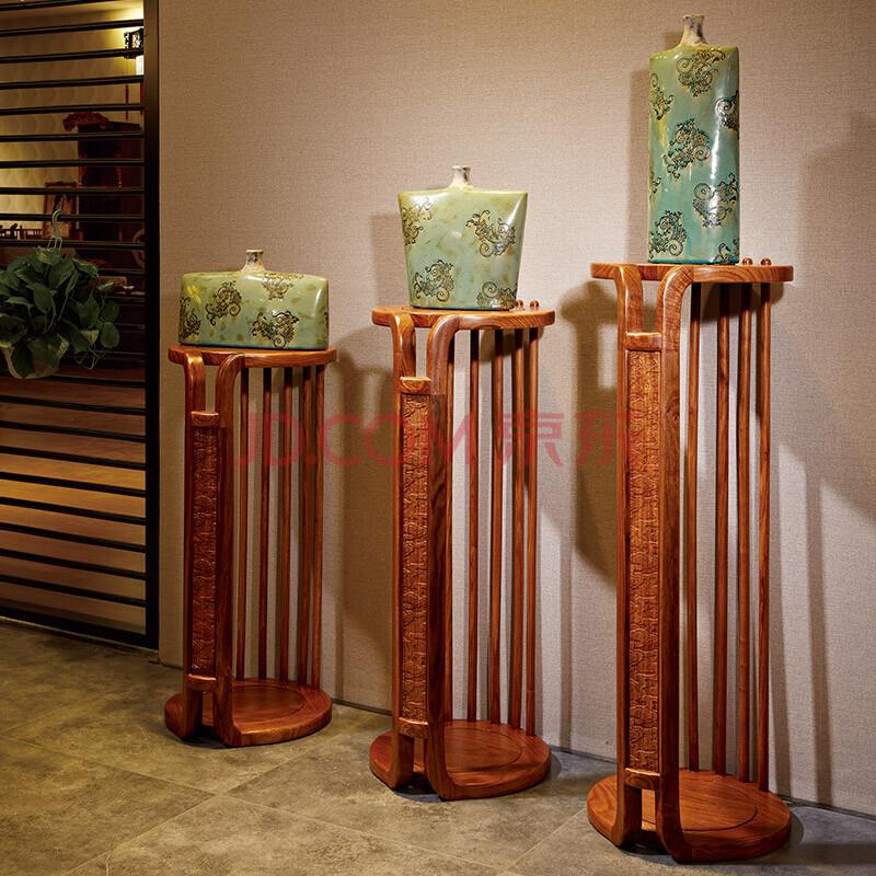 爱尚妮私现代花架花梨木盆景架全实木多层花架客厅落地储物架子 全