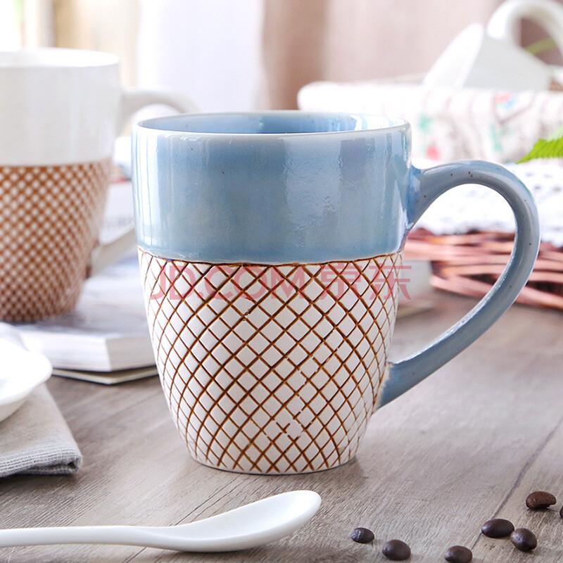 新品 普罗旺斯 特色手绘陶瓷杯子 咖啡马克杯 个性牛奶早餐杯 蓝口边