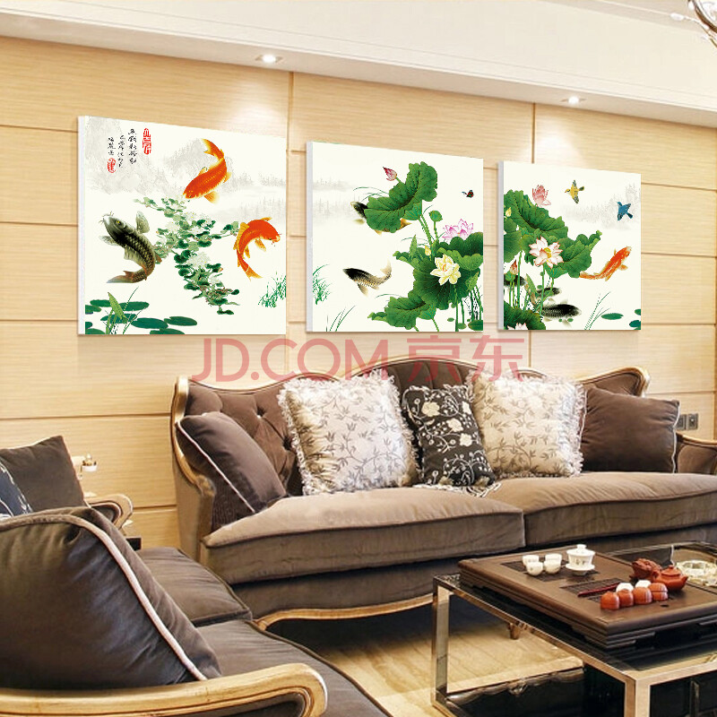 家装软饰 装饰字画 美平方 美平方 新中式客厅挂画沙发背景墙室内装饰图片