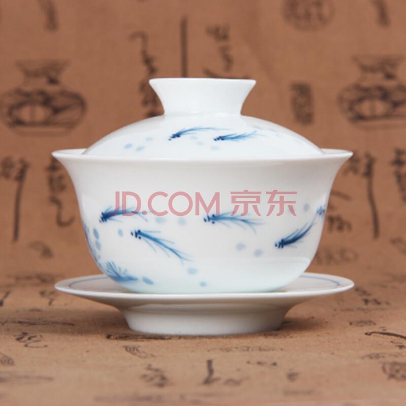 景德镇手绘青花瓷盖碗大号三才杯茶碗陶瓷功夫茶具手绘盖碗茶杯 11 鱼