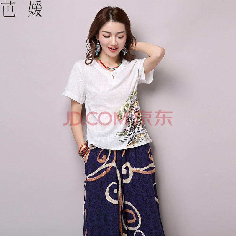 芭媛2016民族风夏装短袖唐装棉麻手绘上衣中国风女装