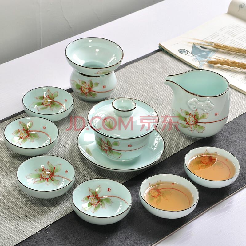 木语瓷缘 青瓷手绘茶具套装 陶瓷功夫茶具茶壶盖碗公道杯茶漏茶杯套组
