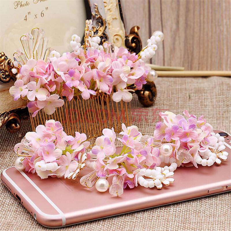 创意湾 新娘森系韩式头花粉红头饰发梳造型发簪饰品图片图片