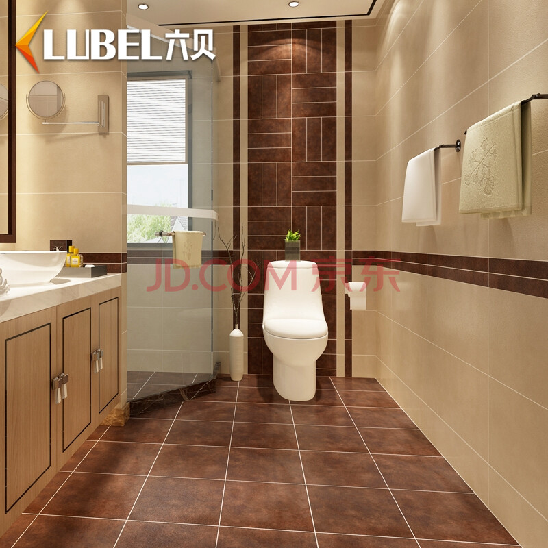 六贝瓷砖 亚光现代建材仿古砖卫生间厨房地砖墙砖瓷砖全瓷地板砖600