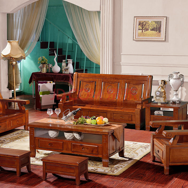金岁堡 实木沙发组合 新中式沙发 纯木质全实木客厅家具红椿木沙发