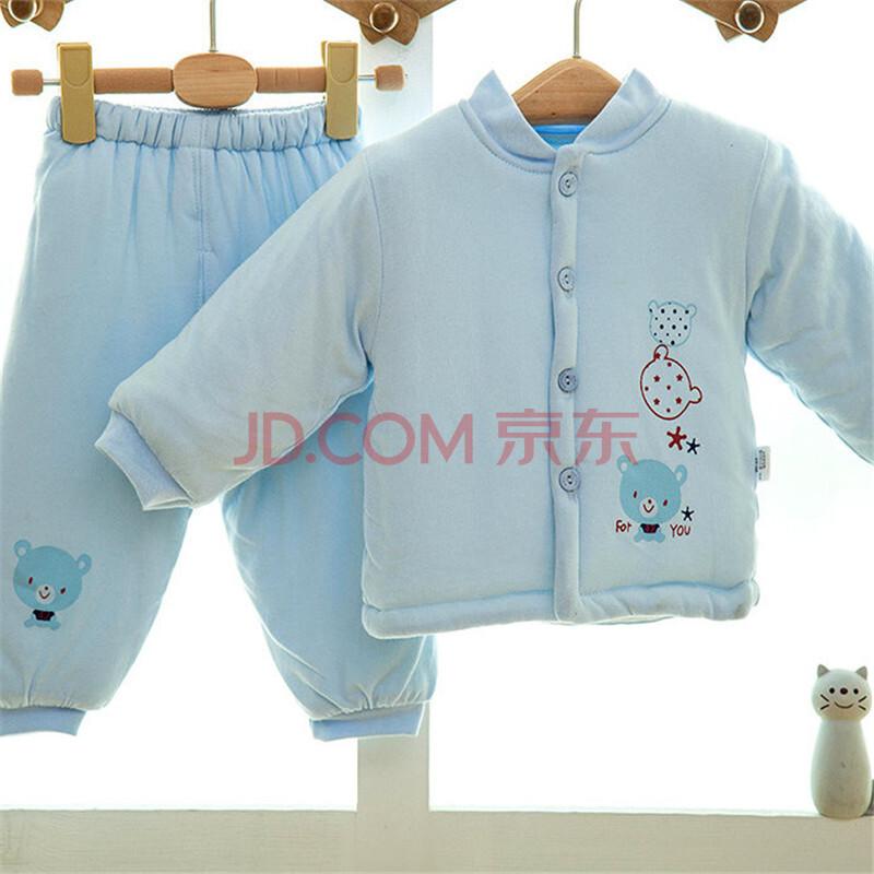 秋冬加厚带帽婴儿衣服天鹅绒棉衣套装 婴儿外出服 深蓝色73码