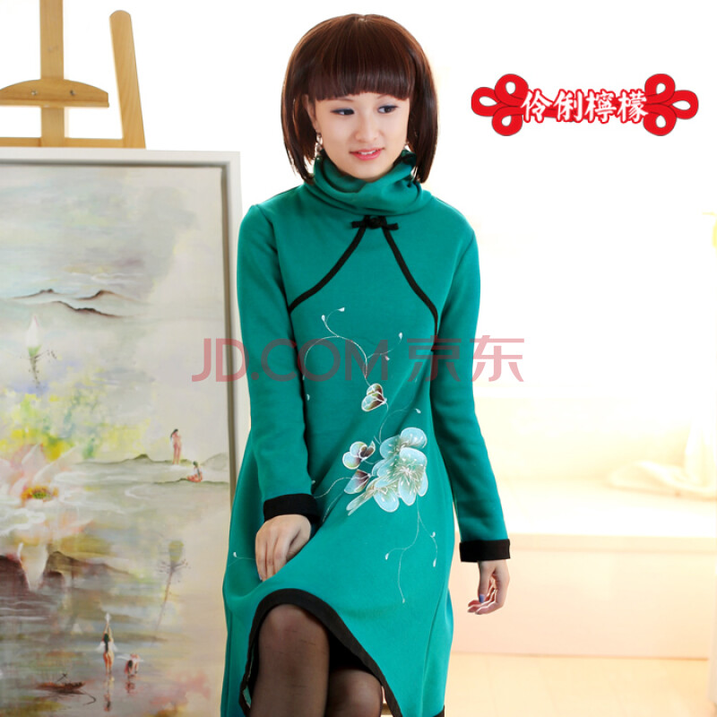 范10076女装手绘连衣裙原创设计中国风复古民族风女