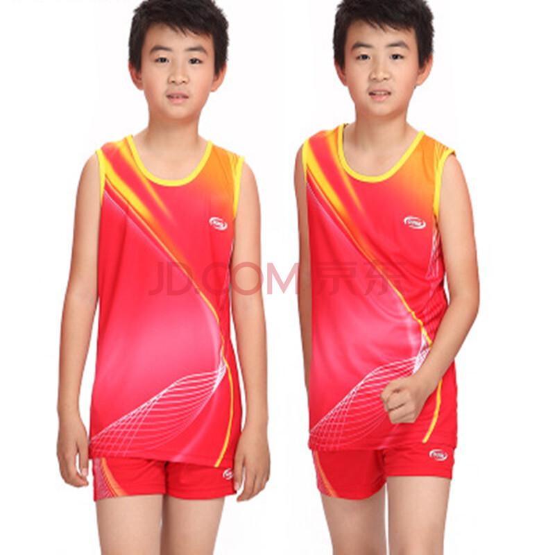 男女儿童款田径服训练套装背心比赛服跑步服舒适 红色