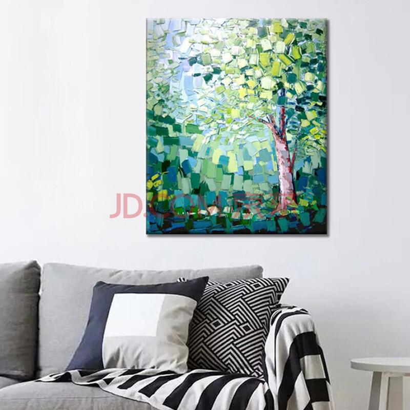 客厅沙发背景墙挂画竖版装饰画油画风景纯手绘树木无框画卧室玄关壁画