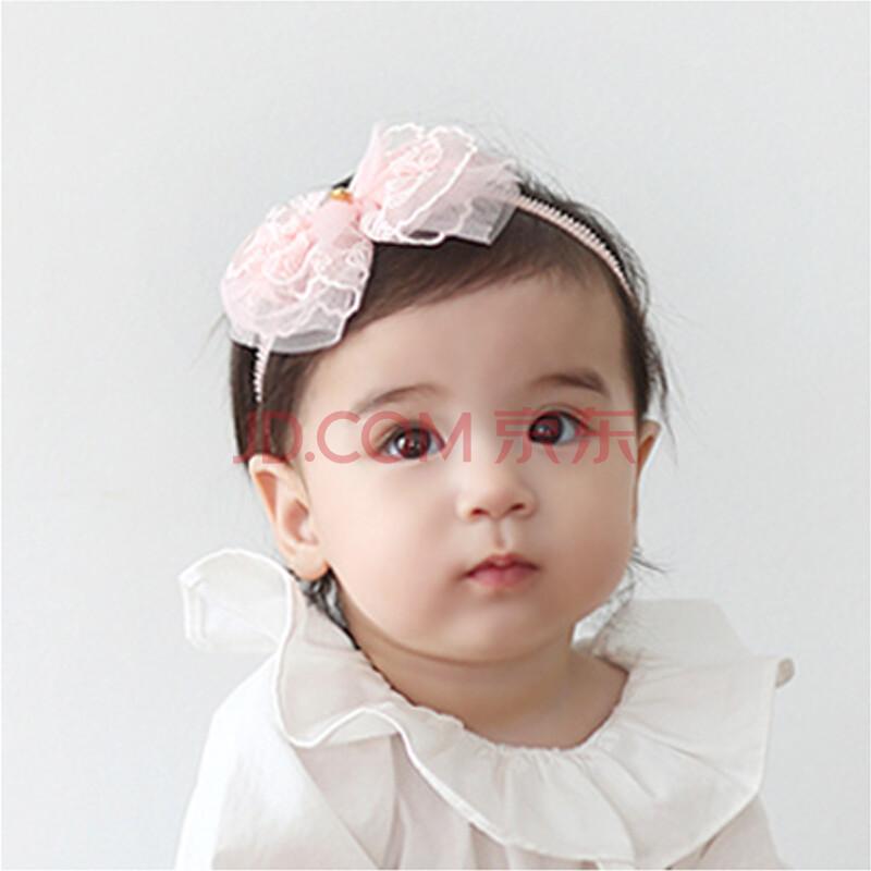 2016夏款欧根纱淡粉小花朵宝宝发带韩版婴儿发饰 爱心